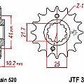 Γρανάζι εμπρόσθιο JT JTF308.14 δόντια HONDA FMX-SLR-NX650 / APRILIA 650 PEGASO / YAMAHA XT660 R-X-Z TENERE JT